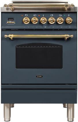 Ilve Nostalgie UPN60DVGGGU Freestanding Gas Range , Blue Grey Custom RAL Color
