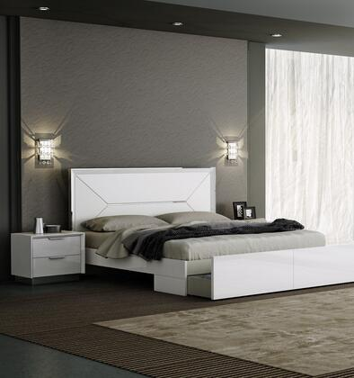 Navi Collection BK1354WHT2SET 2 PC Bedroom Set with King Size Platform Bed and Nightstand in White