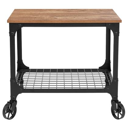 NAN-JH-17109-GG Grant Park Rustic Wood Grain and Industrial Iron Kitchen Serving and Bar