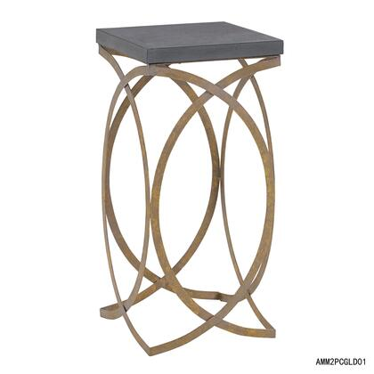 Linon AMM2PCGLD01 Nesting Table, AMM2PCGLD01 Set of Two Concrete Like Gold Nesting Tables Large