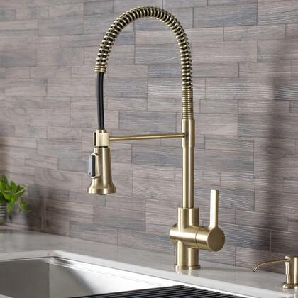 Britt KPF-1690BG 21″ Commercial Style Kitchen Faucet with Dual Function Spray Head  360 Degree Swivel Spout and Premium Ceramic Cartridge in Brushed
