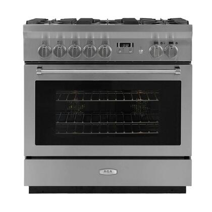 AGA Professional AMPRO36DFSS Freestanding Dual Fuel Range Stainless Steel, Front View