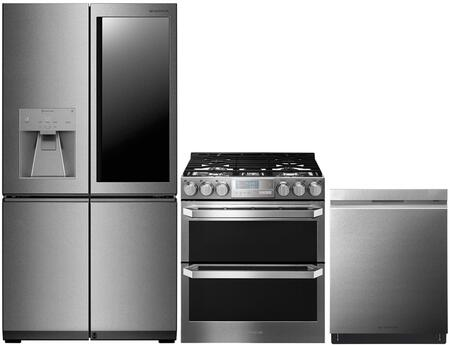 """3-Piece Kitchen Appliances Package with LUPXC2386N 36"""" French 4 Door Refrigerator LUTG4519SN 30"""" Slide-In Gas Range and LUDP8908SN 24"""" Smart"""