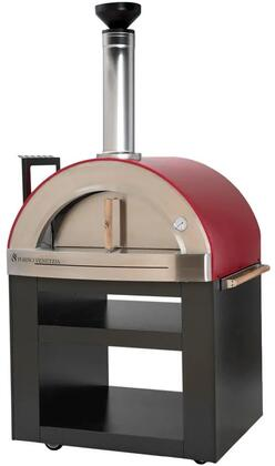 FVTOR300-R Torino Freestanding Pizza Oven with 32″ x 24″ cooking Surface  Fire Brick Hearth  Designer Chimney Cap  Black Cart  in