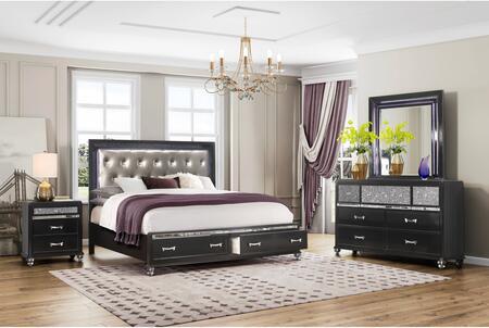 Global Furniture USA Global Furniture USA SONIABLKBDMNS Bedroom Set, products global furniture color sonia black  1131074325 sonia black m w led b5