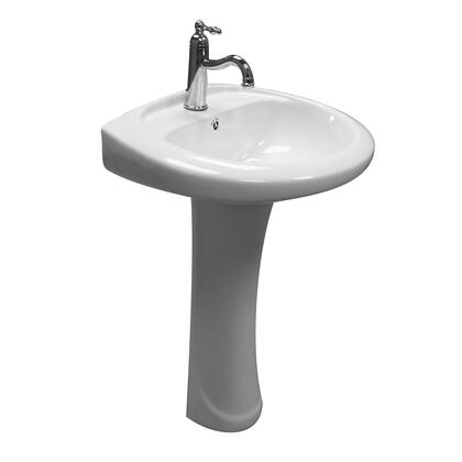 3-9141WH Belmont Pedestal with 1 Faucet Hole  Overflow