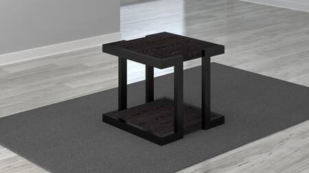 FT24ST 24″ Deco Collection End Table with Engineered Wood Veneer  Fixed Shelf and Glossy Wood Frame  in Brown and Dark