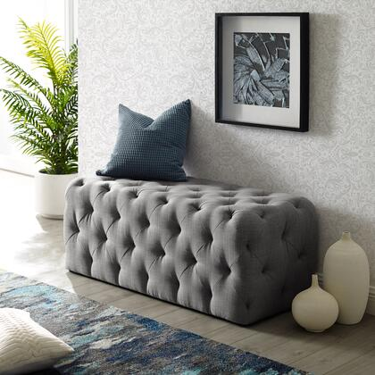 Brice Collection BH85-03LG-AC Bench with Diamond Tufting  Mid-Century Style and Linen Fabric Upholstery in Light Grey