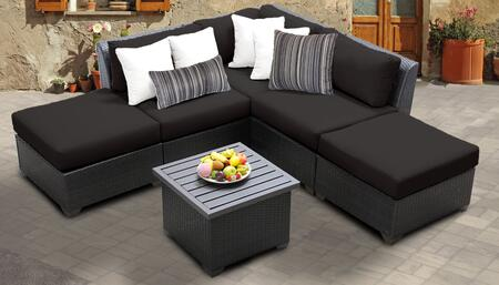 Barbados Collection BARBADOS-06f-BLACK Barbados 6-Piece Patio Set 06f with 1 Corner Chair   2 Armless Chair   2 Ottoman   1 End Table – Wheat and