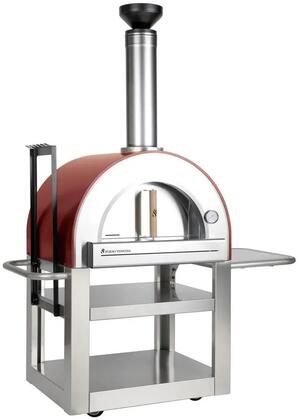 FVP500-R Pronto Freestanding Wood Burning Pizza Oven with 24″ x 20″ Cooking Surface  Fire Brick Hearth  Designer Chimney Cap  Built In Thermometer