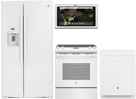 4 Piece Kitchen Appliances Package with GSS25IGNWW 36″ Side by Side Refrigerator  JS645DLWW 30″ Electric Range  UVH13014MWM 30″ Under Cabinet Ducted