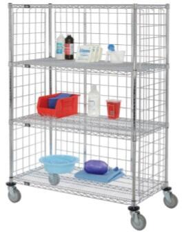 EPC2436PC Enclosed Wire Stock Picker Truck 4 Wire Shelves 24X36X69  Truck W/Polyurethane Wheels  in