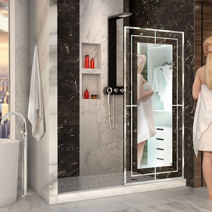 D3234721M12-08 Platinum Linea Mira 34″ W x 72″ H Single Panel Frameless Shower Screen in Polished Stainless