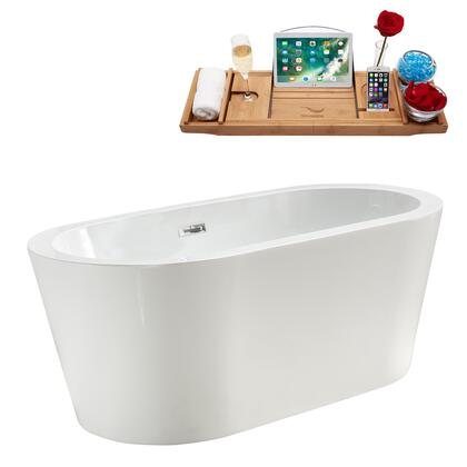 M-2160-58FSWH-DM 58″ Soaking Freestanding Tub and Tray With Internal Drain in White