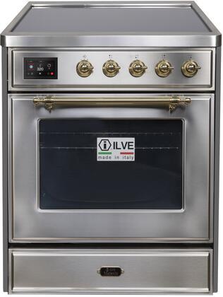 Ilve Majestic II UMI30NE3SSG Freestanding Electric Range Stainless Steel, UMI30NE3SSG-Front-CD-A