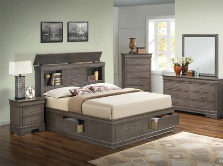 Glory Furniture G3105b Tsbdmnc 5 Piece Bedroom Set With Twin Size Storage Bed Dresser Mirror Single Nightstand Chest In Grey Appliances Connection