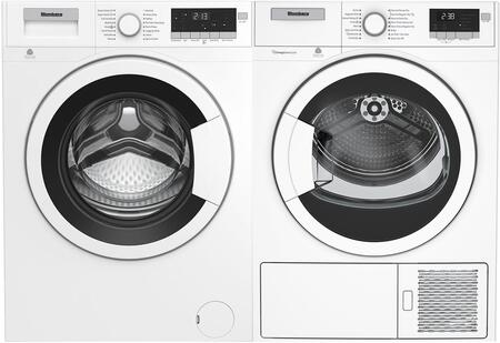 Side by Side Front Load Compact Laundry Pair with WM98200SX2 24″ Washer and DHP24400W 24″ Ventless Heat Pump Electric Dryer in