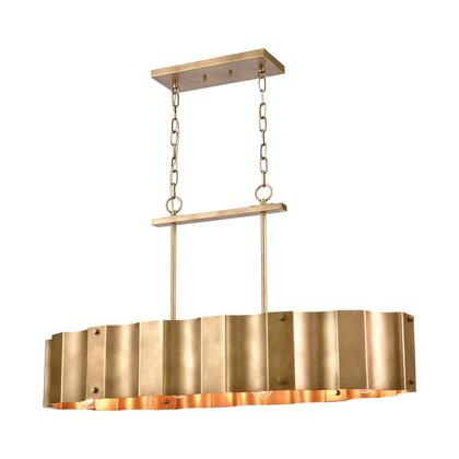 89068/4 Clausten 4-Light Island Light in Natural Brass with Natural Brass Metal