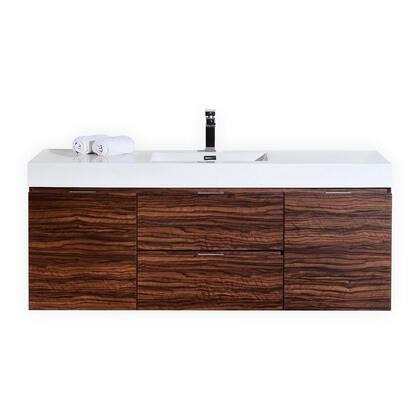 Kubebath Bliss BSL60SWNT Sink Vanity Brown, Main Image