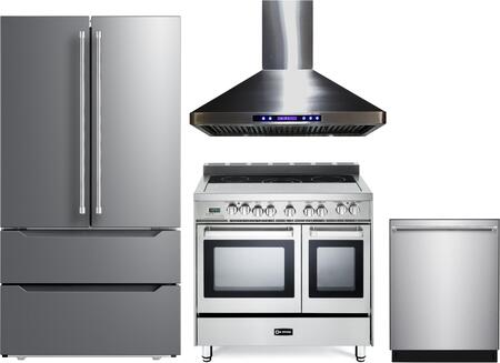 4 Piece Kitchen Appliances Package with VERF36CDSS 36″ French Door Refrigerator  VEFSEE365DSS 36″ Electric Range  VEHOOD36CH 36″ Wall Mount Range