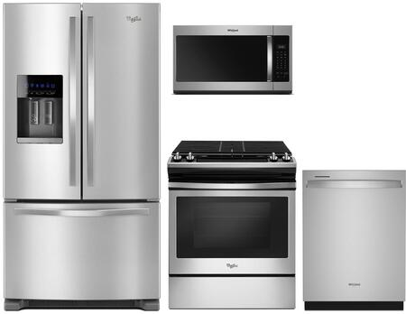 4 Piece Kitchen Appliances Package with WRF555SDFZ 36″ French Door Refrigerator  WEG515S0FS 30″ Slide-in Gas Range  WMH31017HZ 30″ Over the Range