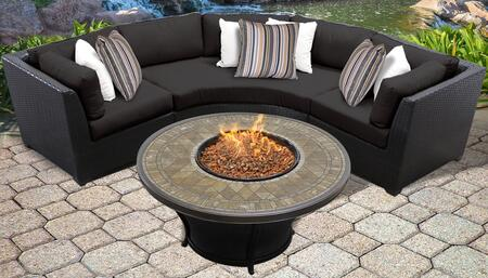 Barbados Collection BARBADOS-04e-BLACK 4-Piece Patio Set with 2 Corner Chairs  Curved Armless Chair and Balmoral 48″ Round Fire Pit Table – Wheat and