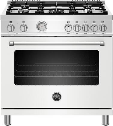 Bertazzoni Master MAST365DFMBIELP Freestanding Dual Fuel Range White, Main Image
