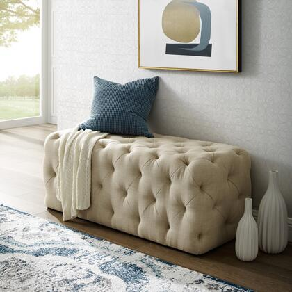 Brice Collection BH85-03BE-AC Bench with Diamond Tufting  Mid-Century Style and Linen Fabric Upholstery in Beige