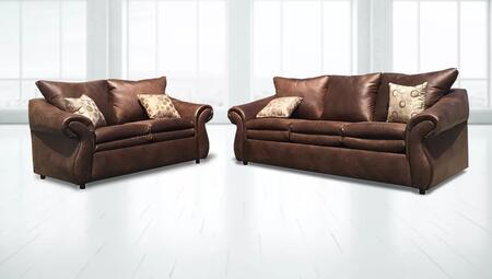 Gardena Sofa Berkeley GDNCA75 Living Room Set Brown, 2 PC Set