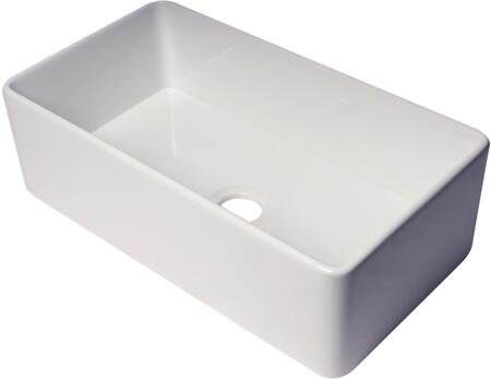 ABF3318S-W ALFI 33″ White Thin Wall Single Bowl Smooth Apron Fireclay Kitchen Farm Sink in