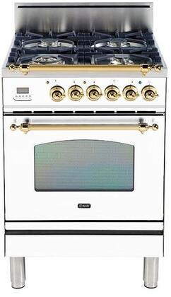 Ilve Nostalgie UPN60DVGGBLP Freestanding Gas Range White, Main Image