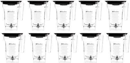 40-712-03 (Pack of 10) 75 oz. Clear FourSide Blender Jar with Hard Lids and 3″ Wingtip