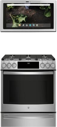 2 Piece Kitchen Appliances Package with PGS930SELSS 30″ Slide-in Gas Range and UVH13012MSS 30″ Under Cabinet Ducted Hood in Stainless