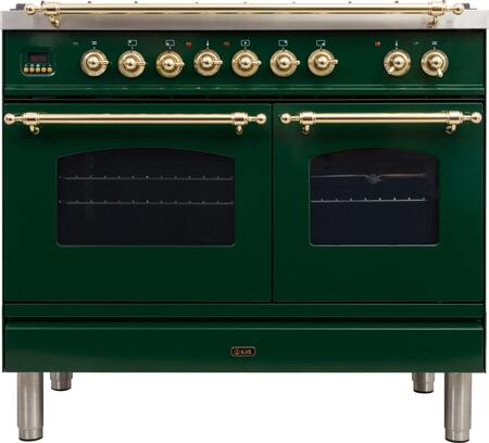 """UPDN100FDMPVS 40"""" Nostalgie Series Dual Fuel Natural Gas Range with 5 Sealed Brass Burners 3.55 cu. ft. Total Capacity True Convection Oven Griddle"""