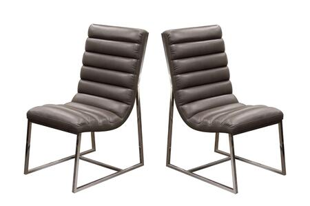"""Bardot_Collection_BARDOTDCEG2_Set_of_(2)_38""""_Dining_Side_Chairs_with_Stainless_Steel_Frame__Channel_Tufted_Design_and_Bonded_Leather_Upholstery_in"""