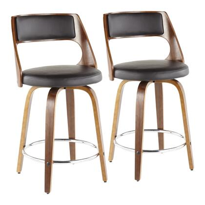 Cecina Collection B24-CECINARWLBN2 Set of 2 Counter Height Stools with 360-Degree Swivel Seat  Mid-Century Modern Style  Curved Wood Frame  PU