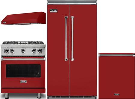 Viking 985366 4 piece Red Kitchen Appliances Package