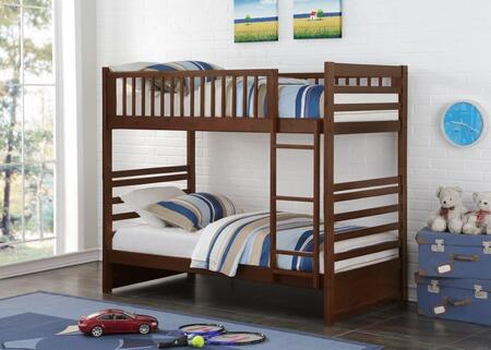 102-TTCP 78″ Twin Over Twin Beaumont Bunkbed with Built in Ladder  Slat Headboard and Footboard in Dark