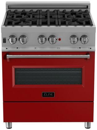 RAS-RM-30 30″ Red Matte Professional Natural Gas Dual Fuel Range with 4 Italian Burners  4 cu. ft. Capacity Oven  Cast Iron Grates and Dual