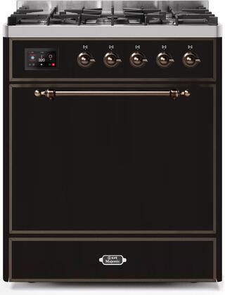 Ilve Majestic II UM30DQNE3BKBLP Freestanding Dual Fuel Range Black, UM30DQNE3BKBLP-Front-CD-A