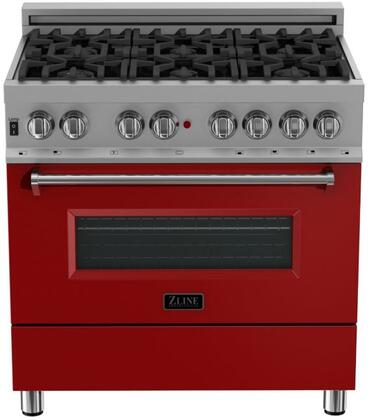 RAS-RM-36 36″ Red Matte Professional Natural Gas Dual Fuel Range with 6 Italian Burners  4.6 cu. ft. Capacity Oven  Cast Iron Grates and Dual