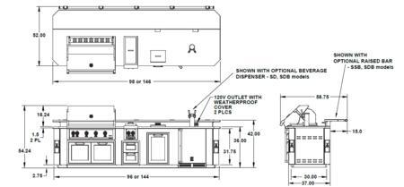 Hestan  GEx8 Base Island Stainless Steel, Dimensions Diagram