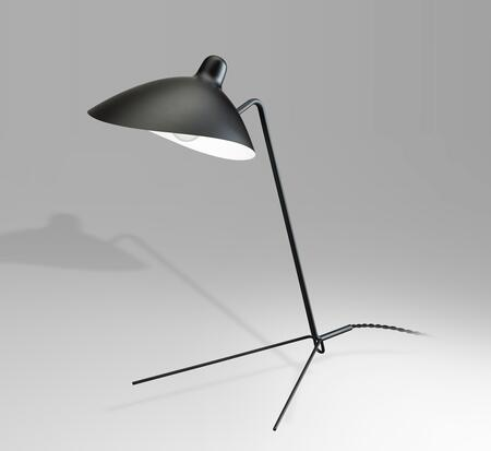 BEL66BLK 1-Light Table Lamp with Steel and Aluminum Materials and 40 Watts in Black