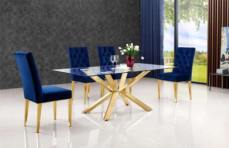 Meridian Capri MER5PCRECDH4BLUKIT3 Dining Room Set Yellow, set