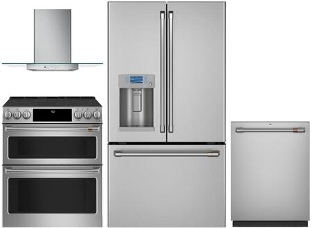 4 Piece Kitchen Appliances Package with CYE22TP2MS1 36″ French Door Refrigerator  CES750P2MS1 30″ Slide-in Electric Range  CVW73012MSS 30″ Wall Mount