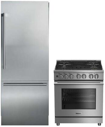 """2 Piece Kitchen Appliances Package with BDFP34550SS 30"""" Slide-in Gas Range and BRFB1920SS 30"""" Bottom Freezer Refrigerator in Stainless"""