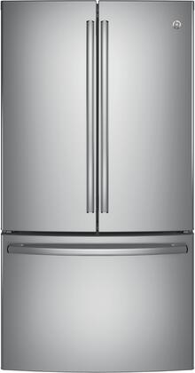 GE  GNE29GYNFS French Door Refrigerator Stainless Steel, Front View