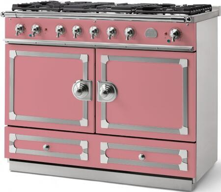 La Cornue CornuFe C1TN Freestanding Dual Fuel Range Pink, Liberte with Stainless Steel and Satin Chrome