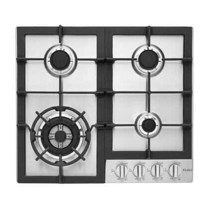 "Haier HCC2230AGS 24"" Gas Cooktop with 4 Sealed Burners Electronic Ignition and Heavy-Duty Continuous Cast Iron Grates in Stainless"