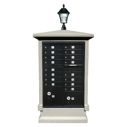 EVMC-SHRT-NP-SL Estateview stucco CBU Mailbox Center  SHORT pedestal (column only) in Non-Painted  with Bayview Solar